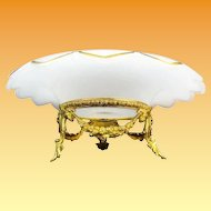"""12 ½"""" Antique French White Opaline Center Bowl with the Grandest Gilt Ormolu ~ Crisp White Opaline Scalloped Edge with 3/8"""" Fabulous Gilding ~ Medallion in the Center Circled in Gilding"""