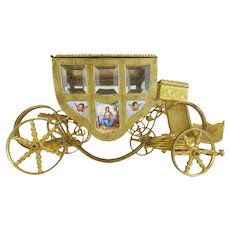 """7"""" Austrian Viennese Enamel """"Putti Pastoral"""" Miniature Coach ~ Nine Enamel Plaques in This Extraordinary Coach ~ All Eight Glass Coach Window are Original and Beveled"""
