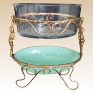 19C French Double Bowls in Figural Gilt Ormolu Stand ~ RARE and WONDERFUL!