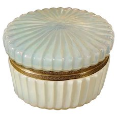 Antique  French Bulle de Savon Opaline Casket Hinged Box. ~ Very Fine Opalescent Oval Ribbed Hinged Box with Fancy Mounts ~ A Magnificent Box From My Treasure Vault