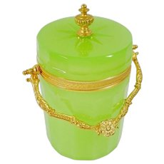 Antique Green Opaline Cachepot Covered Box  ~ Beautiful Fancy Gilt Ormolu Mounts and Finial ~ Rare and Hard to Find Green Opaline ~ Stunning with a Purple Orchid