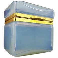 Antique Bulle de Savon Opaline Hinged Box Casket ~ Very Fine ~  This Awesome Casket is Glowing With Luscious Colors