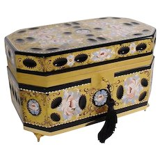 Exquisite Antique French Hand painted Black Glass Casket Hinged Box in a Footed Gilt Ormolu Base~ Beautiful Black Glass Hand painted Top and Two Sides with Lovely Flowers ~ Wide Smooth Gilt Mounts and the Original Locking Key