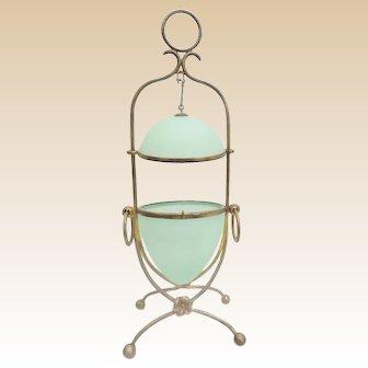 "12 ¼"" Palais Royal Green Opaline Egg Box ~ Stunning Gilt Bronze Ormolu Double Handles and Stand"