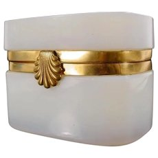 Antique French Bulle de Savon Opaline Casket Hinged Box  ~ EXQUISITE SHELL CLASP ~A BEAUTY from My Treasure Vault.