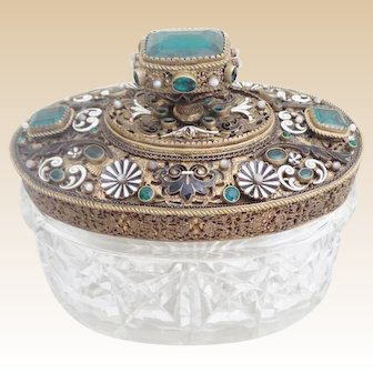 Gorgeous Antique Austrian Jeweled Cut Crystal Box ~ Very Fine Gilt Bronze Filigree Top with Fabulous Big Green Gems and White Opaline All Nested in White Enamel Flowers and Black Enamel Leaves
