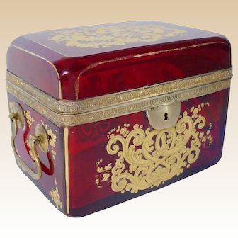 1880 French Ruby Double Handle Casket Hinged Box~ Exquisite Gilding on Top and All Four Sides ~ BEAUTIFUL CASKET