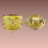 "Majestic Antique French Baccarat Double Handles Scent Casket  ~ Grandest Mounts and Base ~ Exquisite Fitted Interior w Twin Scent Bottles "" Eglomise Tops"""