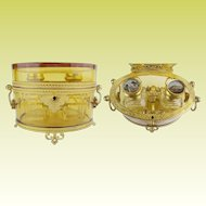 """Majestic Antique French Baccarat Double Handles Scent Casket  ~ Grandest Mounts and Base ~ Exquisite Fitted Interior w Twin Scent Bottles """" Eglomise Tops"""""""