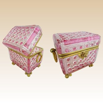 """Antique 7"""" Baccarat Pink Cut to Clear Casket Hinged Box ~  Double Handles w FABULOUS Footed Base ~  Giant Bronze Double Handles ~  A Baccarat Masterpiece"""