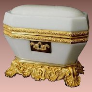 1860  Baccarat White Opaline Casket ~ Magnificent White Opaline ~ STUNNING ! Dore' Bronze Base and Mounts