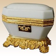 1860  Baccarat White Opaline Casket ~ Magnificent White Opaline ~ STUNNING ! Dore' Bronze Base and Mounts ~ If you Want to Own ONE Box Then This is the ONE!