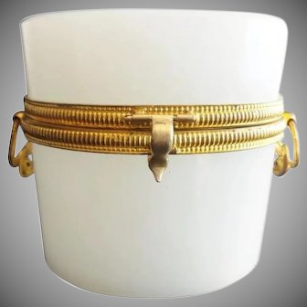 19C French Oval Double Handle White Opaline Casket Hinged Box ~ Gilt Mounts and Pretty Double Handles