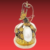Antique Palais Royal  Mother of Pearl Gilt Ormolu Vanity Bell  ~ A Whimsical Vanity Bell  on an Alabaster Plinth ~Delightful Little Bird Finial