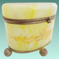 Antique Bohemian Lemon Swirl Glass Hinged Box ~ Heavy Enamel Swags that Circle the Oval Box and The Top has a Sassy Little Bird with Foliage
