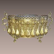 EXQUISITE Antique French Brass Jardinière Beautiful Figural Double Handle &  Paw Feet  ~ Absolutely  Gorgeous  ~  Stunning Size.