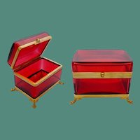 BIG BIG Antique French Red Casket Hinged Box ~ Paw Feet Base  ~  Smooth Gilt Mounts and S Clasp ~  SIMPLY Beautiful and the Color is TERRIFIC!!!