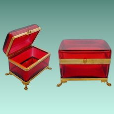 Antique French Red Casket Hinged Box with Paw Feet Base  ~  Smooth Gilt Mounts and S Clasp ~  SIMPLY Beautiful and the Color is TERRIFIC!!!