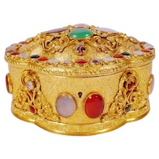 1900  French Jeweled Bronze Casket Hinged Box ~ Covered in Bezel Set  Striped Agate, Moonstone, Carnelian, Blood Stones , and Green Stones ~ Exquisite Shape Dome Top With the Original Gem Key