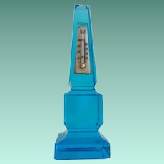 19C  Antique French Blue Glass Obelisk Thermometer ~ BEAUTIFUL BLUE GLASS