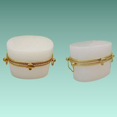 Antique French White Opaline Double Handle Casket Hinged Box ~  Lovely Oval Shape White Opaline and Fancy Gilt Mounts ~  Crisp White and Gleam Gilt