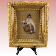 Vintage Estate Needlework of Girl and Rabbit  ~ Wonderful Gold Leaf Frame.