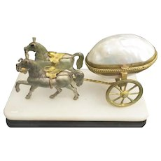 Whimsical Palais Royal Mother of Pearl Horse  Cart  ~  RARE Twin Horses ~ Resting on an Alabaster Plinth ~ The Gilt Brass Horses Pulling a Beautiful Mother of Pearl Hinged Box on Wheels