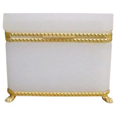 Antique French White Opaline Casket Hinged Box  ~ Exquisite Bronze Mounts & Paw Feet Base ~ A GEM Box from My Treasure Vault