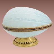 """Majestic 7"""" Murano Latticino Art Glass Hinged Box  ~ Ornate Mounts and A Fancy Gilt Base ~ A BIG and WONDERFUL Hinged Box"""