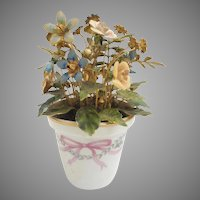 CIRCA 1970's Jane Hutcheson Designed for the Gorham Company…Pretty  Enameled Metal Floral Bouquet in a Hand painted Porcelain Pot