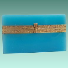 Antique Blue Opaline Casket Hinged Box ~  Pretty Ornate Mounts and Bow Tie Gilt Clasp ~ Rectangular  ~ BEAUTIFUL Blue Opaline Box.