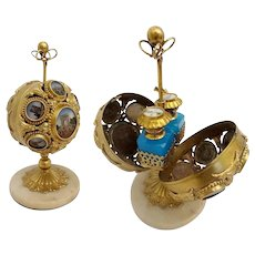 Charming French Napoleon III Palais Royal Mechanical Scent Casket ~ A Big Round Ball with 14 Eglomise Plaques ~The Fitted Interior w Two Divine Blue Opaline Scent Bottles with HP Miniature Tops