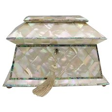 """THE BEST"" Antique Mother of Pearl Tea Caddy ~  Glowing Gleaming Mother of Pearl with Just a Touch of Abalone ~ A MASTERPIECE"