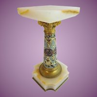Antique French Onyx Champlevé Pedestal  ~ An Exquisite Onyx Champlevé Pedestal to Lift and Display a Small Treasure