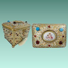 1900 Austrian Jeweled Bronze Enamel Casket Hinged Box with Stunning Porcelain Putti Porcelain Plaque ~  Grandest Box LOADED with GEMS