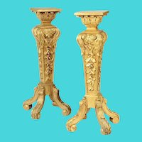 19C French Carved Gilt Wood Pedestals ~   Square Top Raised on Acanthus Base, Surmounting a Tapered Relief Carved Standard~ Glorious Four Scrolled Feet