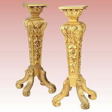 MAJESTIC 19C French Carved Gilt Wood Pedestals ~   Square Top Raised on Acanthus Base, Surmounting a Tapered Relief Carved Standard~ Glorious Four Scrolled Feet