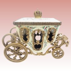 Antique Vienna Enamel Miniature Coach Pastoral Couple, Lambs and Dog ~ The Top has Winged Cherubs Holding Flowers with Blue Ribbons Circle the Top and Crown Finial ~  Fancy Movable Wheels ~ Awesome Gilt Ormolu