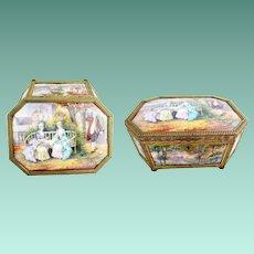 "1850   MASTERPIECE 9 ½"" Limoges Casket Hinged Box ~ Nine Magnificent Enamel Plaques ~ THE BEST! ~ Stamped:FRANCE"