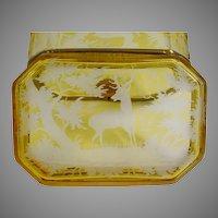 19C Bohemian Golden Amber Casket Hinged Box ~ Smooth Gilt Mounts ~ Elks, Deer, Quail, Tree Etc ~ Wonderful Etching!