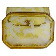 19C Bohemian Golden Amber Casket Hinged Box ~ Smooth Gilt Mounts ~ Elks, Deer, Quail, Tree Etc ~ Wonderful Etching!
