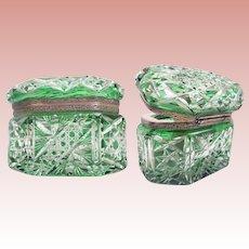 "19C  Bohemian Green Cut to Clear Box Casket ""RARE & BEAUTIFUL OVAL SHAPE""   ~ Exquisite  Cut"