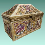 "Rare Capodimonte Porcelain Dome Top Box ""Exotic Birds, Donkey, Tiger and Figures"" Stunning Shape and Delightful Colors."