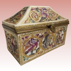 """Rare Capodimonte Porcelain Dome Top Box """"Exotic Birds, Donkey, Tiger and Figures"""" Stunning Shape and Delightful Colors."""