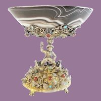 Antique Austrian Figural Silver Jeweled and Agate Compote ~ Magnificent Heavy Jeweled Figural and an Exquisite Agate Bow ~  PRIZE!