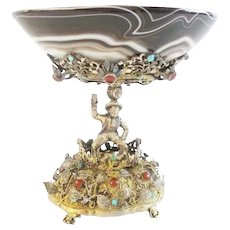 Gorgeous Antique Austrian Figural Silver Jeweled and Agate Compote ~ Magnificent Heavy Jeweled Figural and an Exquisite Agate Bow ~  PRIZE!