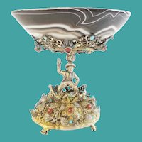 Magnificent  Austrian Figural Silver Jeweled and Agate Compote ~ Magnificent Heavy Jeweled Figural and an Exquisite Agate Bow ~  PRIZE!