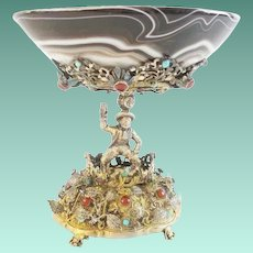 Antique Austrian Figural Silver Jeweled and Agate Compote ~ Magnificent Heavy Jeweled Figural ~  Exquisite Agate Bowl