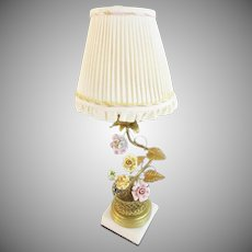 Charming Antique French Lamp with Porcelain Flowers ~ Woven Gilt Wire Basket with Porcelain Flowers  on White Marble Base ~ Pretty Silk Shade with Exquisite Braid Trim of Pink and Yellow