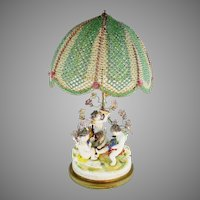 CHARMING Porcelain Putti Lamp & Grandest Beaded Shade ~ Four Playful Putti & Sweet Porcelain Flowers ~ Style of Aelteste Volkstedter Porzellanmanufaktur Thuringia, Germany and Bears it Mark.
